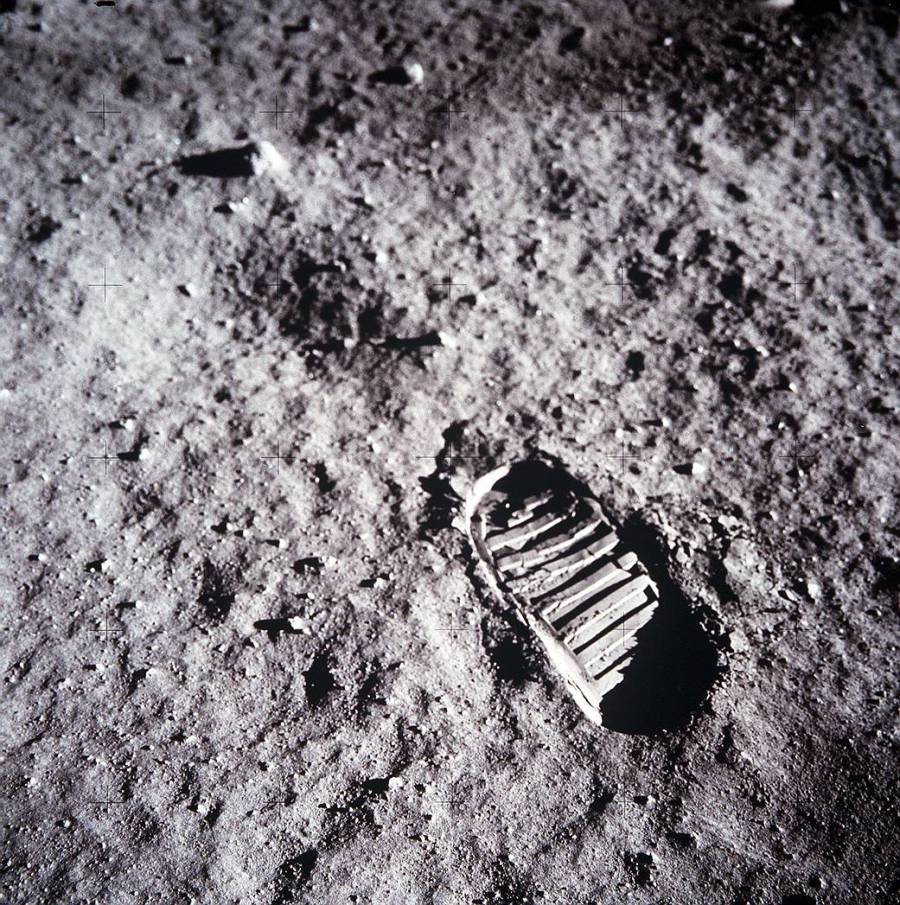 Boot-print from Buzz Aldrin on Apollo 11 moonwalk: July 20, 1969